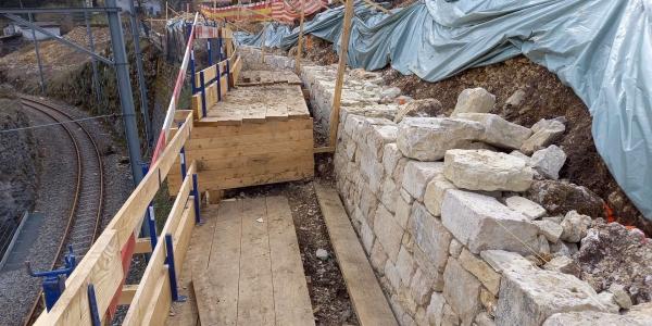 Construction du nouveau mur